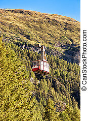Cable car in Zermatt highland Swiss
