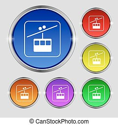 cable car line icon sign. Round symbol on bright colourful buttons. Vector