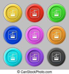 cable car line icon sign. symbol on nine round colourful buttons. Vector