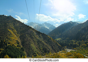 cable car mountain landscape Central Asia Kazakhstan