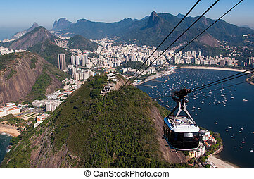Cable Car ofthe Sugarloaf Mountain - Cable Car Going Up to...
