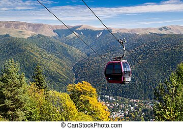 Cable car on mountain landscape