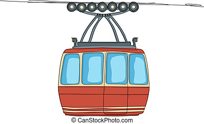 Cable-car on ropeway cartoon drawing over white background