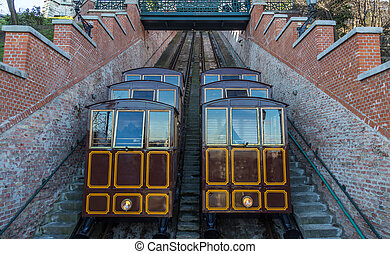 Cable Car on the Castle Hill, Budapest city Hungary.