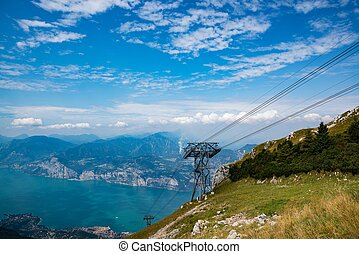 Cable car on the top of Monte Baldo mountain in Malcesine. Province of Verona in the Italian region Veneto,