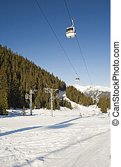 Cable car over a ski slope