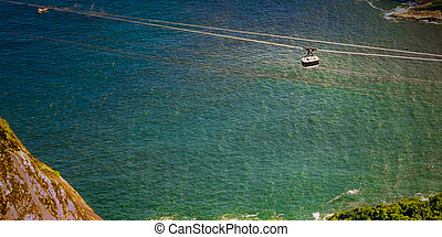 Cable car over the ocean - Overhead cable car moving over...