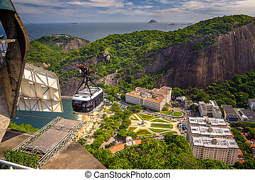 Cable car over Urca - Cable car moving over a residential...