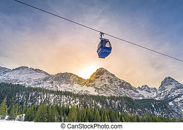 Cable car route over the Alps mountains