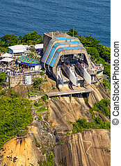 Cable car station - Aerial view of overhead cable car...