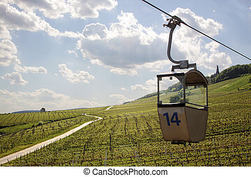 Cable car to the Niederwald Monument near Ruedesheim in the Rheingau, Hesse, Germany