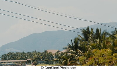 Cable car to Vinpearl amusement park in the morning sunshine to attract tourists to the weekend relaxing in Nha Trang, Vietnam