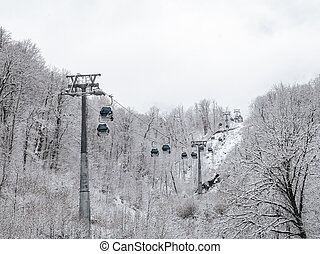 Cable car with lifts in the mountains among snowy trees
