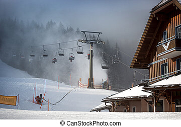 cable cars on highland ski resort at Austrian Alps