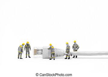 cable., concept, gestion réseau, réseau, techniciens, cat5