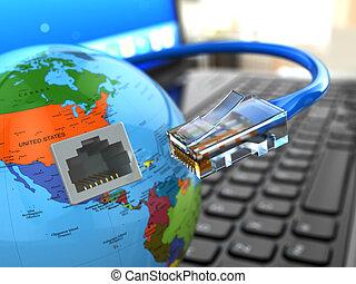 cable., concept., internet, laptop, erde, ethernet