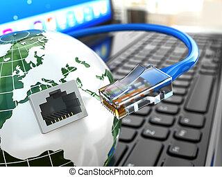 cable., concept., internet, ordinateur portable, la terre, ethernet