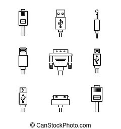 Cable conectors and plugs icons set, vector illustration