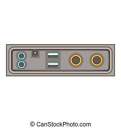 cable connection panel icon, cartoon style - cable...