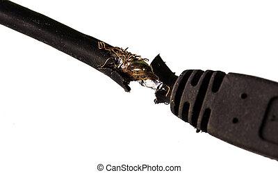 cable., endommagé, détail, macro