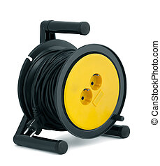Cable extension - Black able extension reel isolated on...