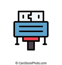 cable flat color icon