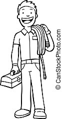 Cable Guy Line Art -  man carry cable and toolbox