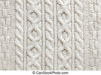 Cable knit fabric background - Knit texture of light natural...
