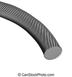 Cable Knurled  - 3d ilustration, Cable gray knurled