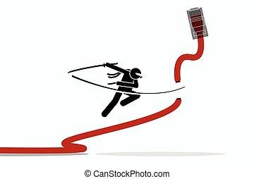 cable., lan, ネットワーク, 切口, ninja, イーサネット