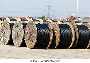Cable of a power line rolled after production.