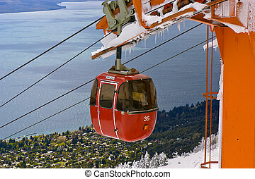 Cable railway in Mount Otto, Bariloche, Argentina. View of Lake Nahuel Huapi.