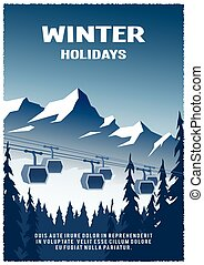 Cable railway car on winter landscape background. -...