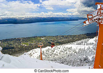 Cable railway in Mount Otto, Bariloche, Argentina. Bariloche city and lake Nahuel Huapi in the background.