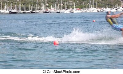 Cable ski in the Punat sea, Krk island in Dalmatia - Croatia...