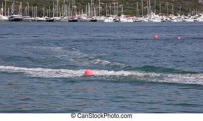 Cable ski in the Punat sea, Krk island in Dalmatia - Croatia