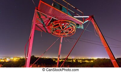 cable ski lift in the night, time-l