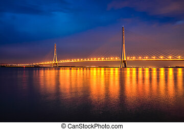 cable-stayed bridge at night