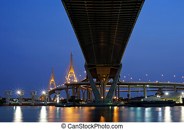 cable-stayed bridge at twilight time