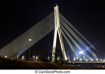 cable-stayed bridge - Cable-stayed bridge, the view at...