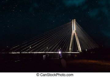 Cable-stayed bridge close-up at night