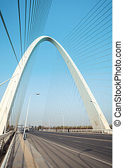 cable stayed bridge closeup - cable stayed bridge main tower...