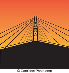 Cable-stayed bridge contour over sunset. Vector...