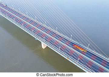 cable-stayed bridge deck closeup on yangtze river