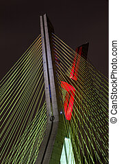 Cable stayed bridge detail in Sao Paulo - Brazil - at night