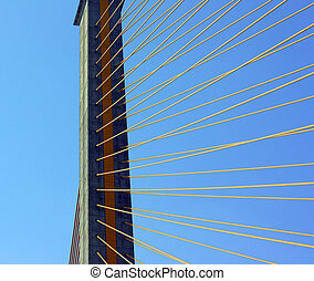 Cable-stayed bridge - Detail of cable-stayed bridge, with...
