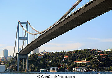 Cable-stayed bridge in Istanbul Bosphorus in Turkey