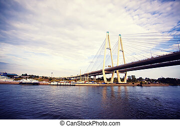 Cable stayed bridge in Saint-Petersburg, Russia
