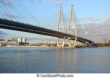 Cable-Stayed Bridge in St.Petersburg at sunny spring day,...