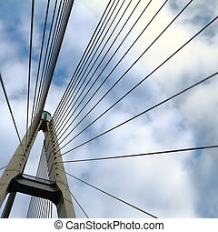 cable-stayed bridge in the sky